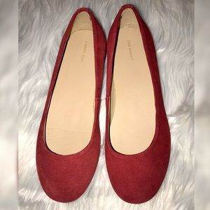 Lands End Red Flats Size 6B NWOB